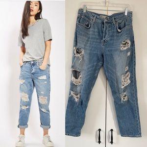 Top shop Moto destroyed ripped boyfriend jeans